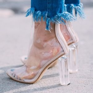 PUBLIC DESIRE Blogger's Favorite Clear PVC Booties